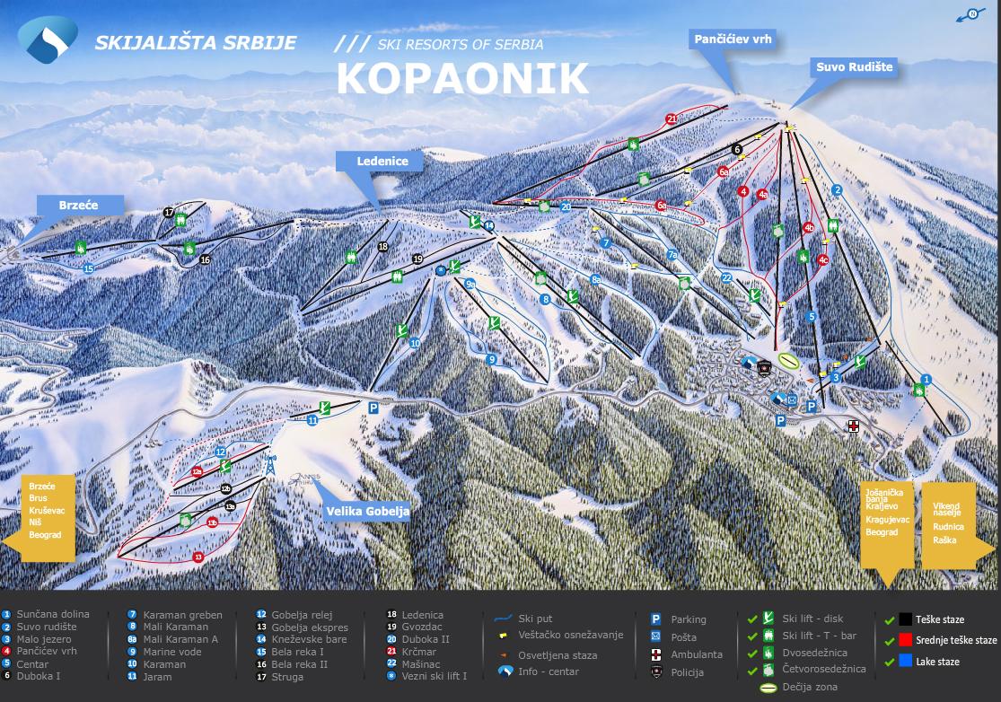 kopaonik mapa staza Ski staze i žičare na Kopaoniku | KOPAONIK kopaonik mapa staza