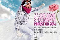 Osmomartovski popust od 20% na ski pass za dame